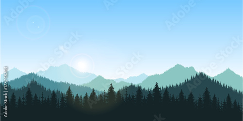 Spoed Fotobehang Zalm hand drawn vector nature illustration with mountains and forest on first view. silhouette landscape. using for travel and nature background and card