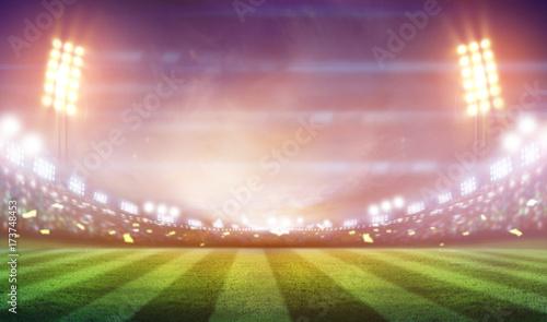 Spoed Foto op Canvas Stadion lights at night and football stadium 3D