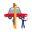 vector flat cartoon funny young man, boy mechanic in blue uniform repairing lifted sedan car with big wrench. Male full lenght portrait caucasian character isolated, illustration on a white background