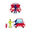vector flat cartoon man, boy mechanic in green protecting workwear painting red car into blue with spray, man repairing vehicle standing near open hood set. Isolated illustration on a white background