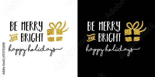 Fotografie, Obraz  Gold glitter Merry Christmas quote greeting card