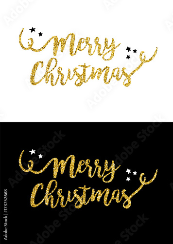 Fotografie, Obraz  Merry Christmas gold glitter quote greeting card