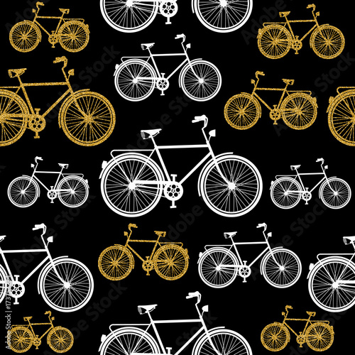 Fototapeta białe i brązowe rowery na czarnym tle