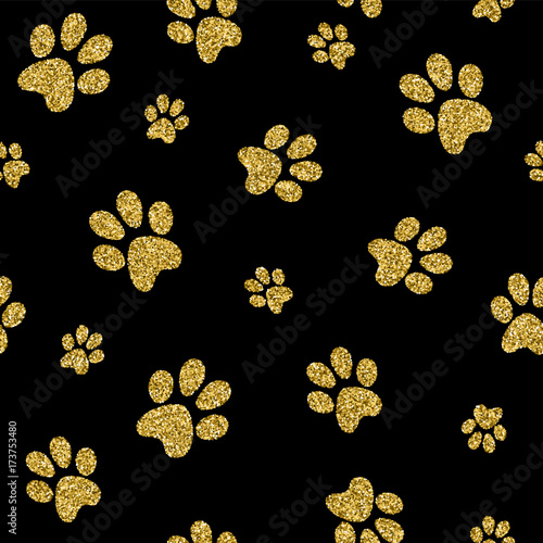 plakat Gold dog paw seamless pattern golden glitter art