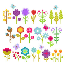 Summer Flowers Isolated Vector Collection. Cute Floral Elements For Retro 70s Design