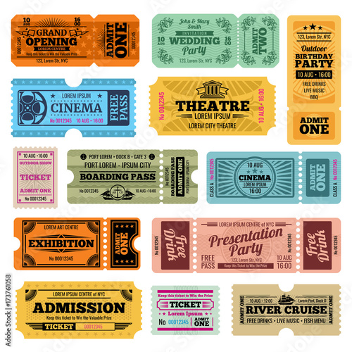 Circus, party and cinema vector vintage admission tickets templates Canvas Print