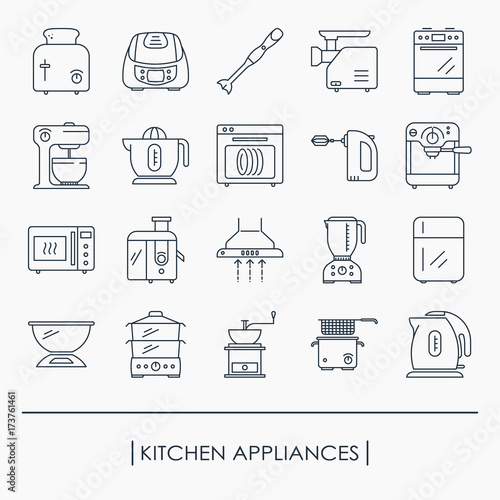 Fotografía  Collection of kitchen appliances outline icon