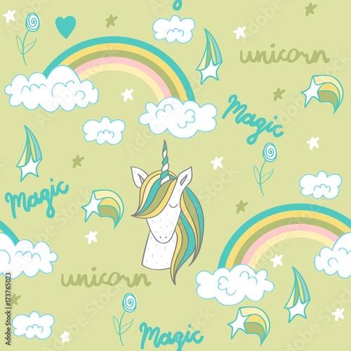 magiczny-slodki-jednorozec-posrod-teczy-na-zielonym-tle