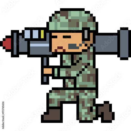 vector pixel art bazooka army Wallpaper Mural