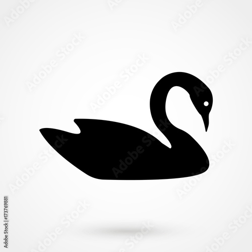 Swan silhouette-vector illustration Canvas-taulu