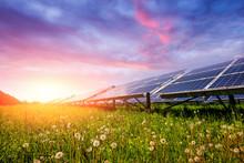 Solar Panel On Blue Sky Backgr...