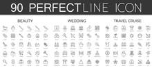 90 Modern Thin Line Icons Set Of Beauty Cosmetics, Wedding, Travel Cruise