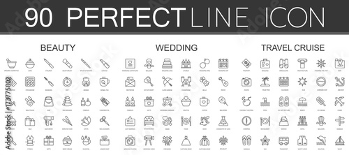 Fotografía  90 modern thin line icons set of beauty cosmetics, wedding, travel cruise