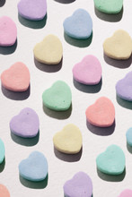 Rows Of Candy Valentine Hearts