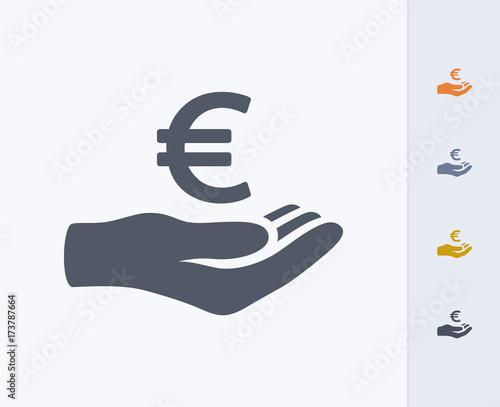 Cuadros en Lienzo Hand Holding Euro - Carbon Icons