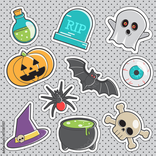 Foto op Aluminium Retro sign Fun trendy vintage sticker halloween fashion badges