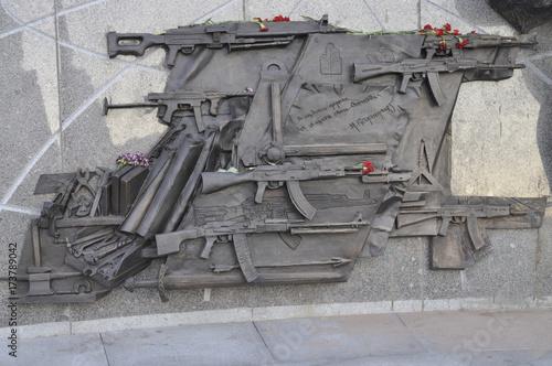Fragment of the monument to Lt  Gen  Mikhail T  Kalashnikov