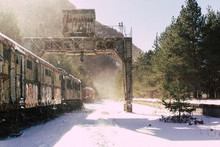Old Real Station At Winter