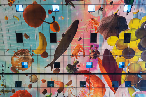 Spoed Fotobehang Rotterdam Rotterdam, Netherlands - April 26, 2017: Design of market Markthal in Rotterdam