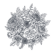 Vector Bouquet With Hand Drawn...