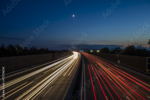 Foto op Aluminium Nacht snelweg colorful light trace from highway traffic at night