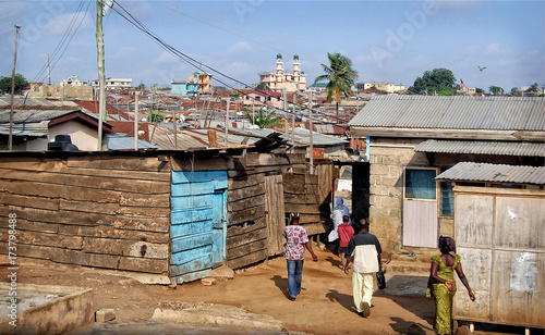 Development of residential infrastructure of Ghana slowed due poverty & poor housing conditions, where lifestyle of people from dense located slum houses is not at a good level Canvas Print