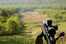 Rifle Overlooking Shooting Range