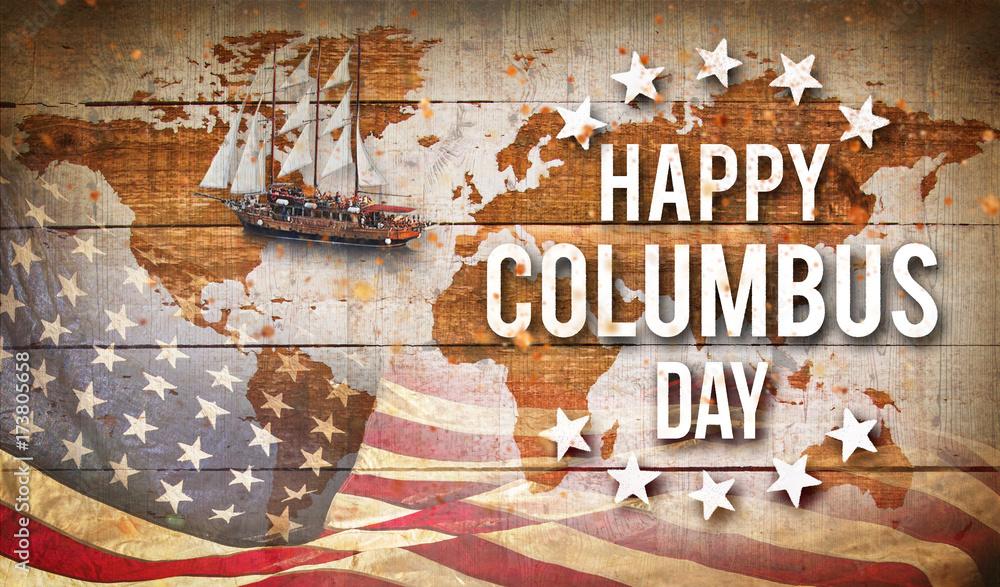 Fototapeta Happy Columbus day banner, patriotic background