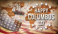 Happy Columbus Day Banner, Pat...