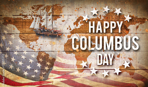 Fotomural  Happy Columbus day banner, patriotic background