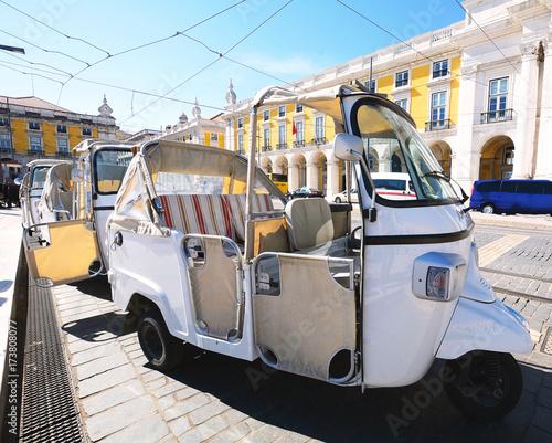 Tuk tuk on street of Lisbon in Portugal.