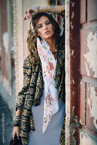 Door stickers Gypsy feminine fashion model