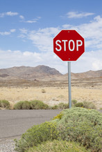 Stop Sign Along Rural Road, Ne...