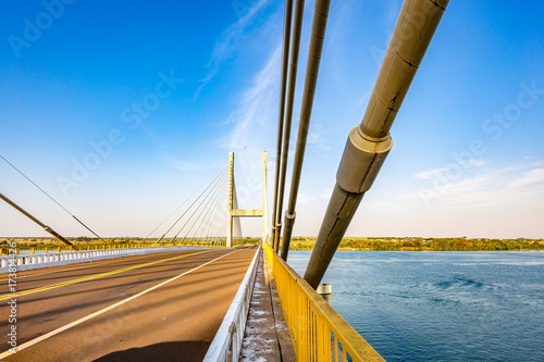 Cable-stayed bridge over Parana river, Brazil Canvas Print