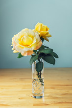 Yellow Rose In A Flower Vase W...