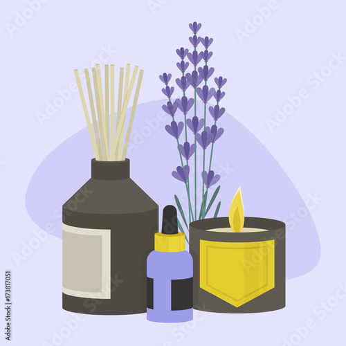 Fototapeta Aroma therapy set. A collection of home fragrances: aroma candle, sticks and oil / flat editable vector illustration, clip art obraz