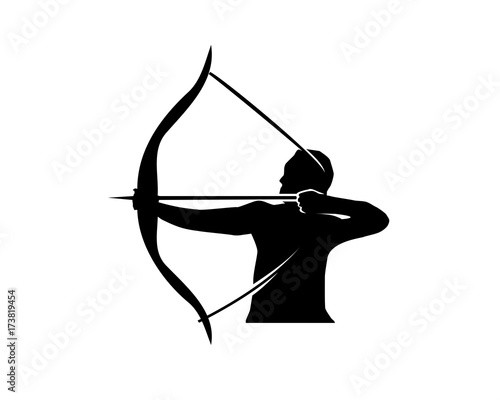 Fényképezés man holds bow and arrow silhouette, strong man with bow and arrow silhouette, illustration design, isolated on white background