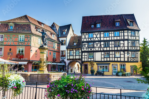City on the water Colorful traditional french houses and shops in Colmar, Alsace, France