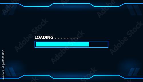 Fotografía  Game loading on monitor technology concept design.