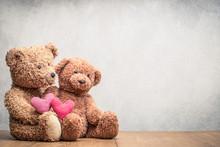 Retro Teddy Bear Toys Pair Wit...