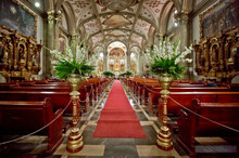 The Red Carpet And Interior Of Mexican Church In Mexico City