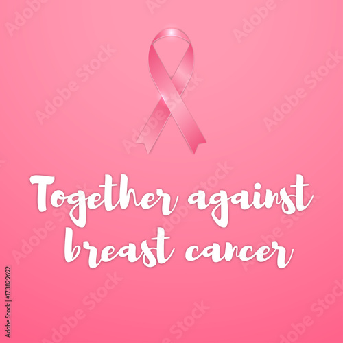 Breast Cancer Vector Illustration Pink Banner With Pink Ribbon