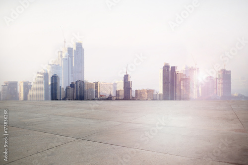 Poster Blanc Urban landscape road with city background