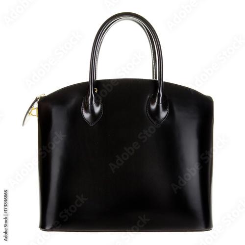 Photo Black leather women's tote handbag on white background - Stock photo