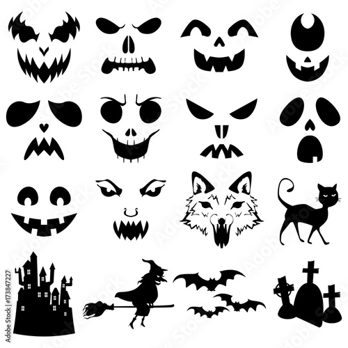 Sjabloon Halloween.Halloween Pumpkins Carved Silhouettes Template Buy This