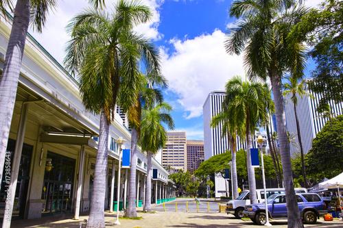 In de dag ハワイ アロハタワーから見たビジネス街の風景
