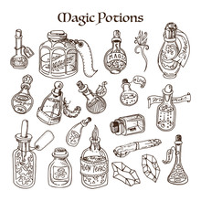 Magic Potions Tubes And Bottles