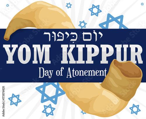 Ribbon across Shofar Horn and Stars for Yom Kippur, Vector Illustration Wallpaper Mural