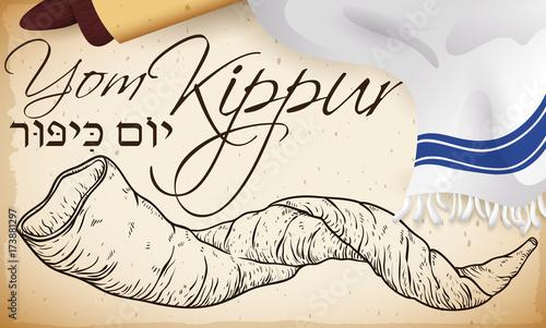 Obraz na płótnie Hand Drawn Shofar Horn, Scroll and Tallit for Yom Kippur, Vector Illustration
