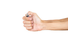 Hand Holding Lighter Isolated On White Background With Clipping Path.